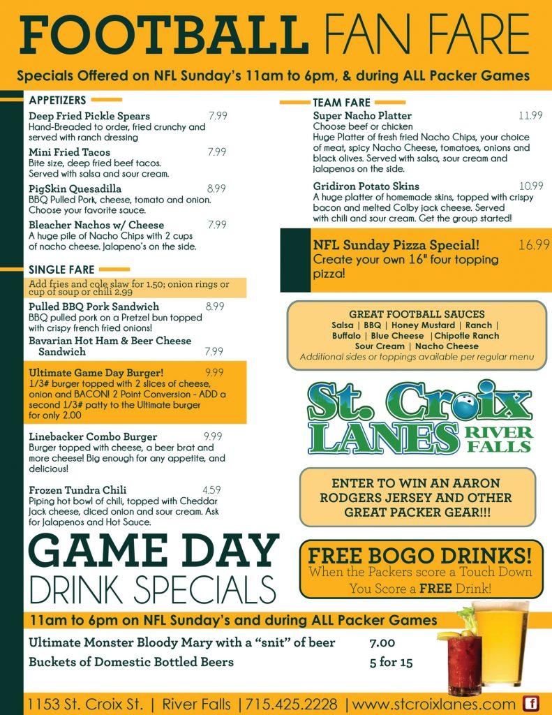 game day menu